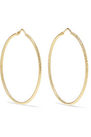Florentine 18-karat gold hoop earrings