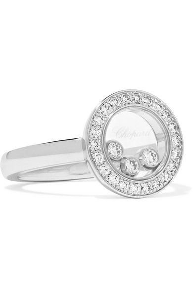 Happy Diamonds 18-karat White Gold, Diamond And Mother-of-pearl Ring - 53 Chopard