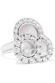 Happy Diamonds 18-karat white gold, diamond and mother-of-pearl ring