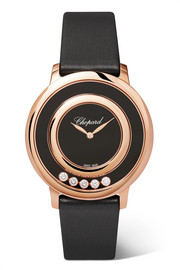 Chopard Happy Diamonds 32 mm Uhr aus 18 Karat Roségold mit Onyx, Diamanten und Satinarmband