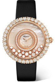 Happy Dreams 36mm 18-karat rose gold, satin, diamond and mother-of-pearl watch