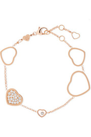 Happy Hearts 18-karat rose gold diamond bracelet