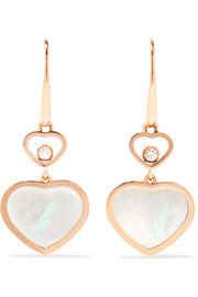 Happy Hearts 18-karat rose gold, diamond and mother-of-pearl earrings