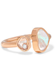 Happy Hearts 18-karat rose gold, diamond and mother-of-pearl ring