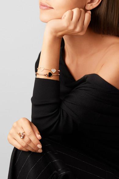 100% authentifié arrive prix attractif Bracelet en or rose 18 carats, diamant et onyx Happy Hearts