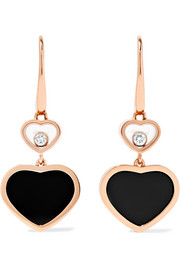 Happy Hearts 18-karat rose gold, diamond and onyx earrings