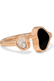 Happy Hearts 18-karat rose gold, diamond and onyx ring
