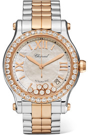 Happy Sport 36 18-karat rose gold, stainless steel, diamond and mother-of-pearl watch