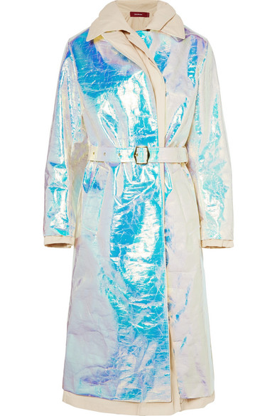 Sies Marjan - Devin Layered Iridescent Coated-shell And Cotton-canvas Trench Coat - Platinum