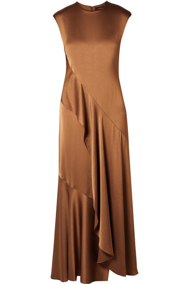 Sies Marjan - Zariah Draped Satin-crepe Maxi Dress - Light brown