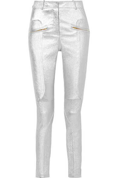 Sies Marjan - Brin Metallic Textured-leather Skinny Pants - Silver