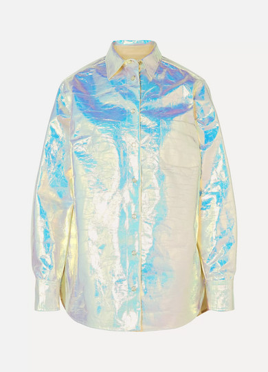 Sies Marjan - Sander Iridescent Coated-cotton Shirt - Platinum