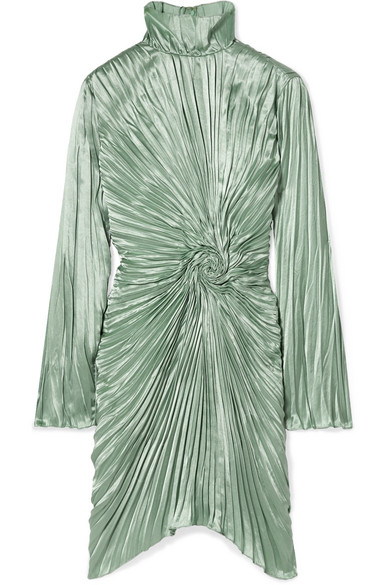 Sies Marjan - Ida Pleated Satin Mini Dress - Mint