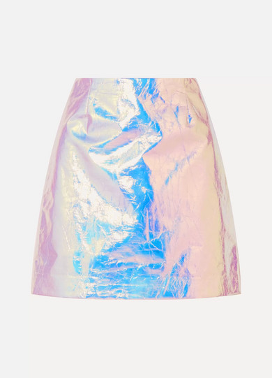 Sies Marjan - Desiree Iridescent Coated-cotton Mini Skirt - Platinum