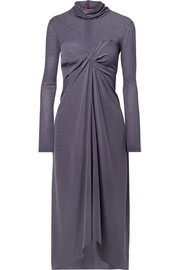 Frances twist-front washed-silk and tulle turtleneck midi dress