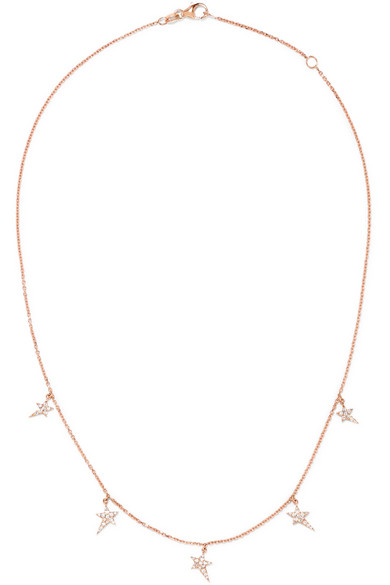 DIANE KORDAS STAR 18-KARAT ROSE GOLD DIAMOND NECKLACE