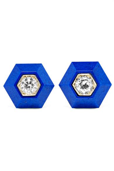 FRED LEIGHTON COLLECTION 18-KARAT WHITE GOLD, LAPIS LAZULI AND DIAMOND EARRINGS