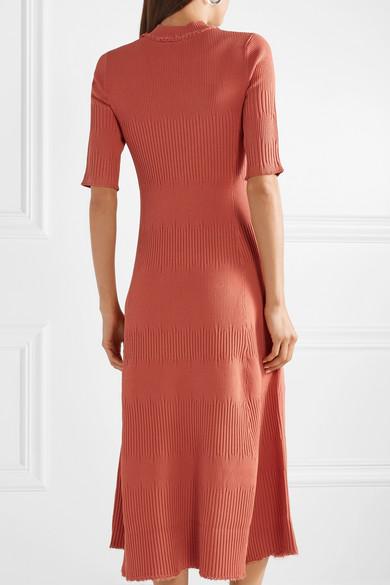 Proenza Schouler Dress Frayed ribbed-knit midi dress
