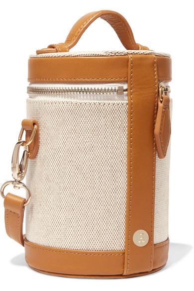 Crossbody Capsule Leather-trimmed Canvas Shoulder Bag - Tan Paravel suMydtQloN