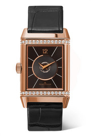 Reverso Classic Duetto medium rose gold, diamond and alligator watch