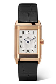 Reverso Classic Duetto small rose gold, diamond and alligator watch