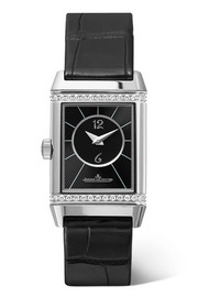 Reverso Classic Small Duetto stainless steel, diamond and alligator watch