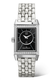Reverso Classic Duetto small stainless steel and diamond watch
