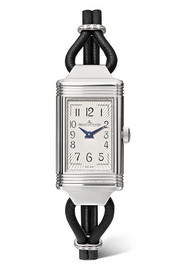 Reverso One Cordonnet leather, stainless steel and diamond watch