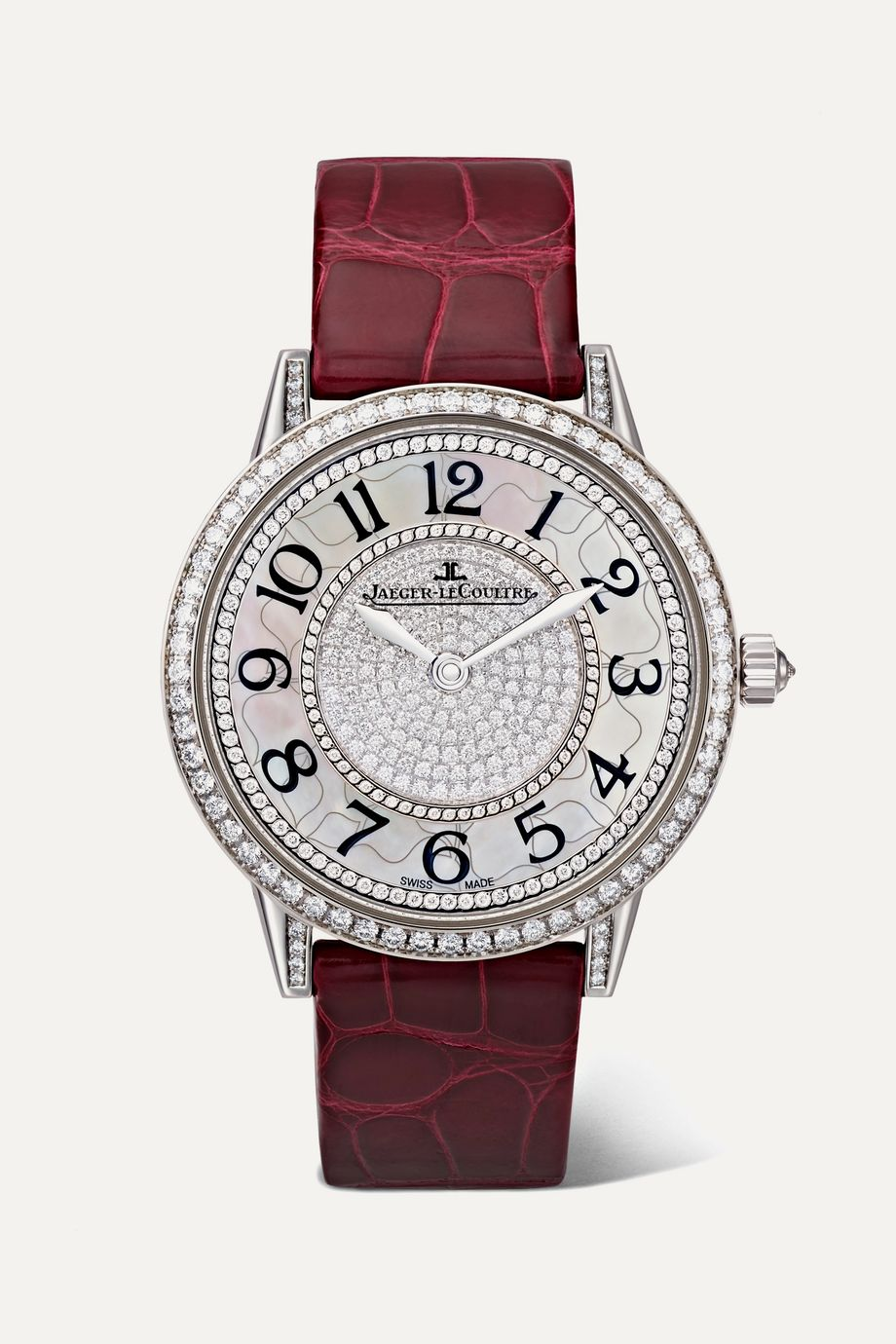 Jaeger-LeCoultre Rendez-Vous Night & Day Ivy 34mm 18-karat white gold, alligator and diamond watch