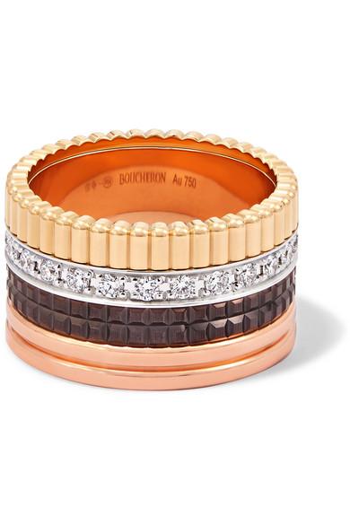 Boucheron QUATRE CLASSIQUE LARGE 18-KARAT YELLOW, ROSE AND WHITE GOLD DIAMOND RING