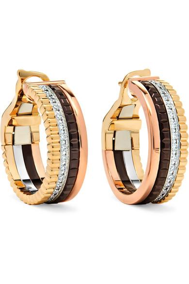 Boucheron QUATRE CLASSIQUE 18-KARAT YELLOW, ROSE AND WHITE GOLD DIAMOND HOOP EARRINGS