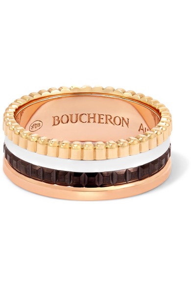 BOUCHERON QUATRE CLASSIQUE SMALL 18-KARAT YELLOW, ROSE AND WHITE GOLD RING