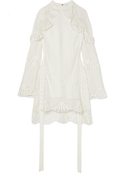 Macramé Lace-Trimmed Crochet-Knit Mini Dress in Ivory