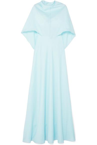 Self-Portrait - Cape-effect Satin Gown - Sky blue