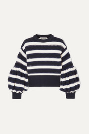 Self-Portrait Striped open-knit cotton and wool-blend sweater