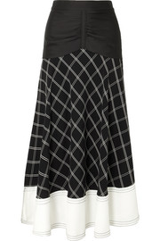 Paneled checked matte-satin midi skirt