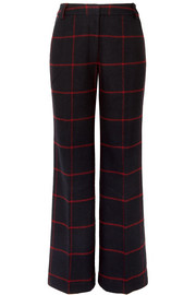 Checked woven wide-leg pants