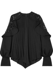 Pleated crepe de chine and lace blouse