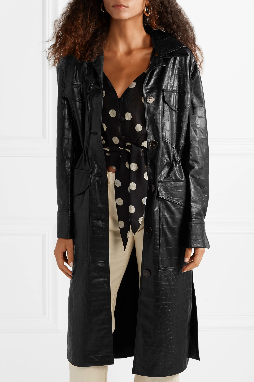 Nanushka Gus croc-effect vegan leather coat