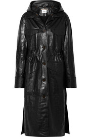 Gus croc-effect faux leather coat