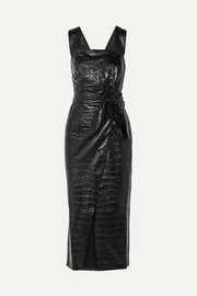 Zora knotted croc-effect faux leather midi dress