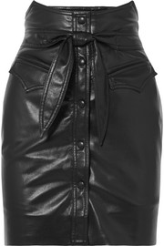 Reese belted vegan leather mini skirt