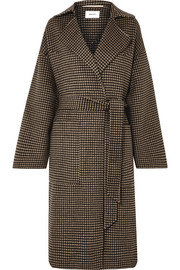 Alamo belted houndstooth wool and silk-blend coat