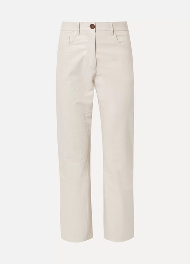 Ivy Cropped Croc-Effect Vegan Leather Straight-Leg Pants in Cream