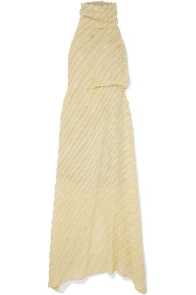 SID NEIGUM Metallic Fil Coupé Voile Halterneck Maxi Dress in Ivory