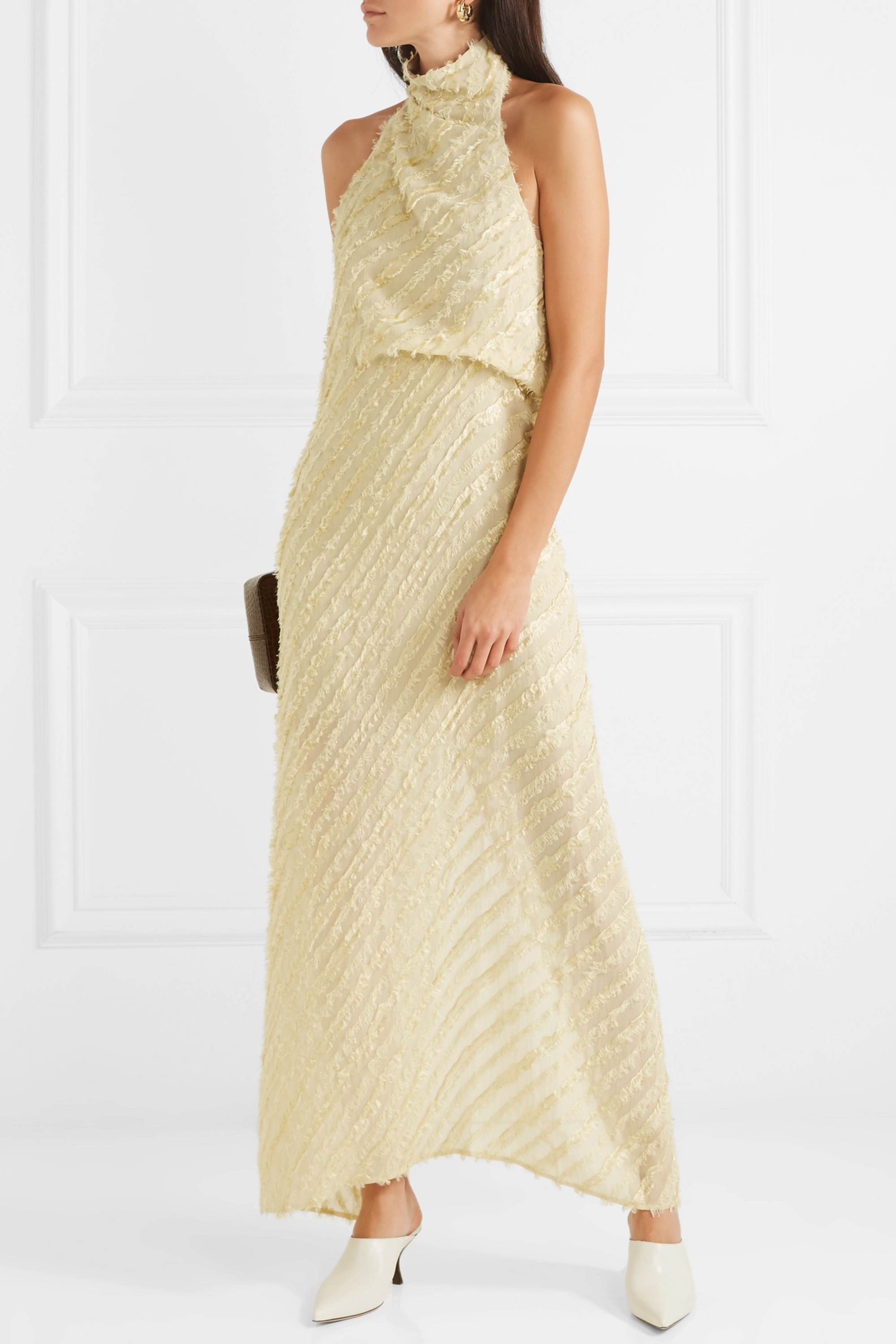Sid Neigum Metallic fil coupé voile halterneck maxi dress