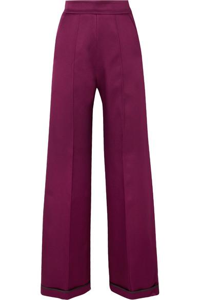 SID NEIGUM Bonded Satin Wide-Leg Pants in Plum