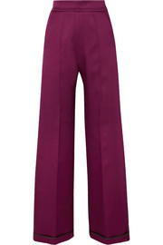 Bonded satin wide-leg pants