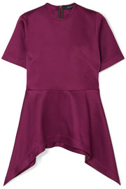 Bonded satin peplum top