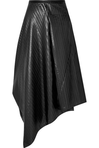SID NEIGUM Asymmetric Pleated Satin Midi Skirt in Black